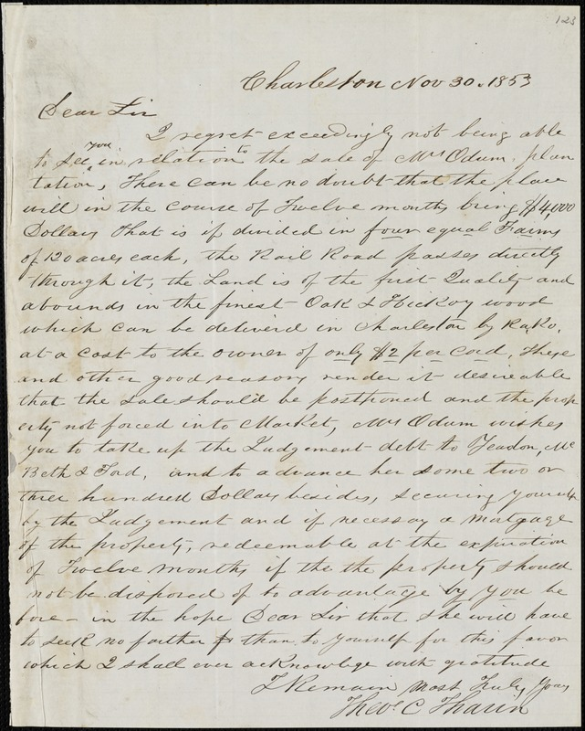 Theodore C. Tharin, Charleston, S.C., autograph letter signed to [Ziba B. Oakes], 30 November 1853