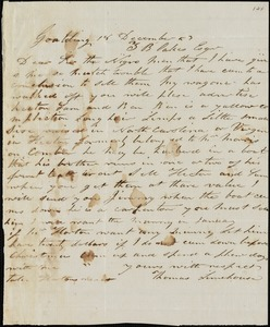 Thomas Limehouse, Goulding, S.C.[?], autograph letter signed to Ziba B. Oakes, 18 December 1853