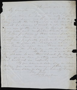 F. C. Barber, Augusta, Ga.[?], autograph letter signed to [Ziba B. Oakes], 15 December 1853