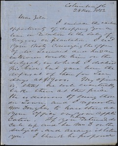 Columbia, S.C.[?], autograph letter signed to Ziba B. Oakes, 28 November 1853