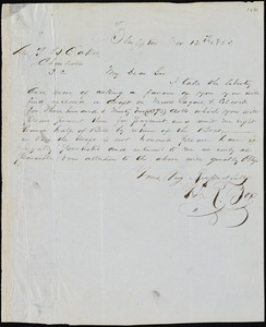 H.R. Box, Bluffton, S.C., autograph letter signed to Ziba B. Oakes, 12 November 1853