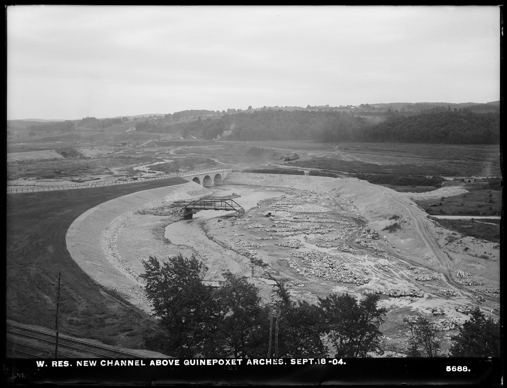 Wachusett Reservoir, new Quinapoxet River Channel above arches, West Boylston, Mass., Sep. 18, 1904