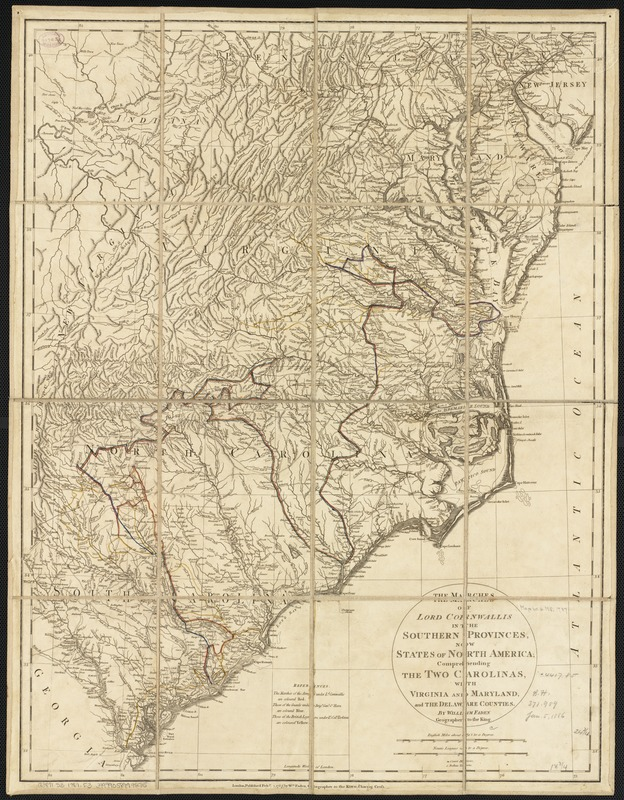 The marches of Lord Cornwallis in the southern provinces, now states of North America