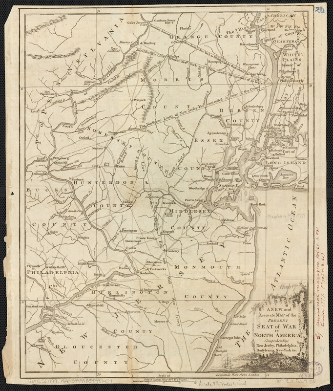 A New and accurate map of the present seat of war in North America, comprehending New Jersey, Philadelphia, Pensylvania, New-York, &c
