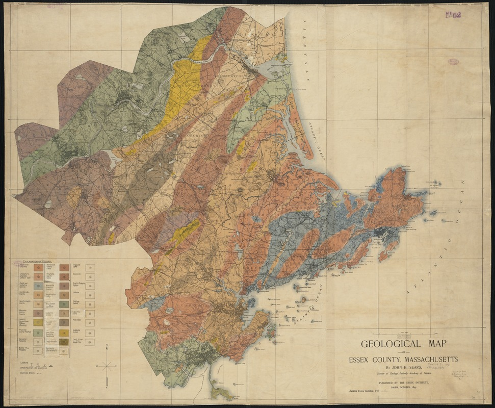 Geological map of Essex County, Massachusetts