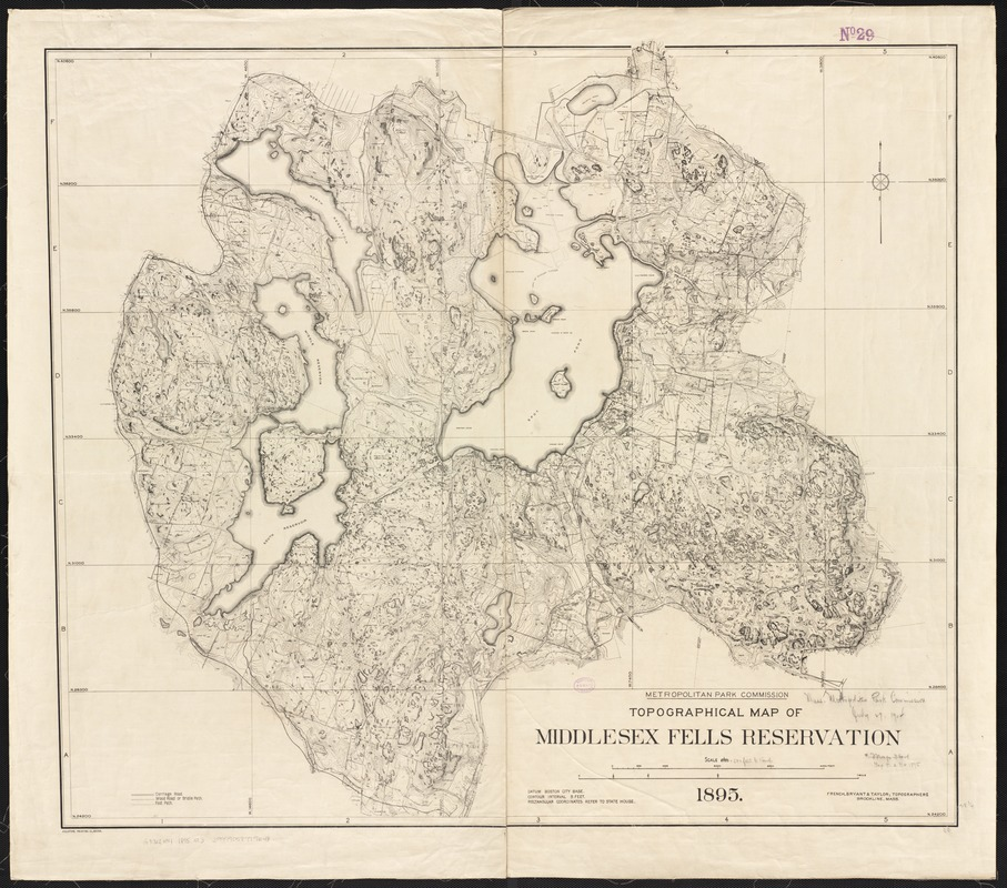 Topographical map of Middlesex Fells Reservation