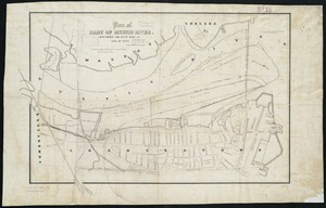 Plan of part of Mystic River, with common low water mark of line of flats