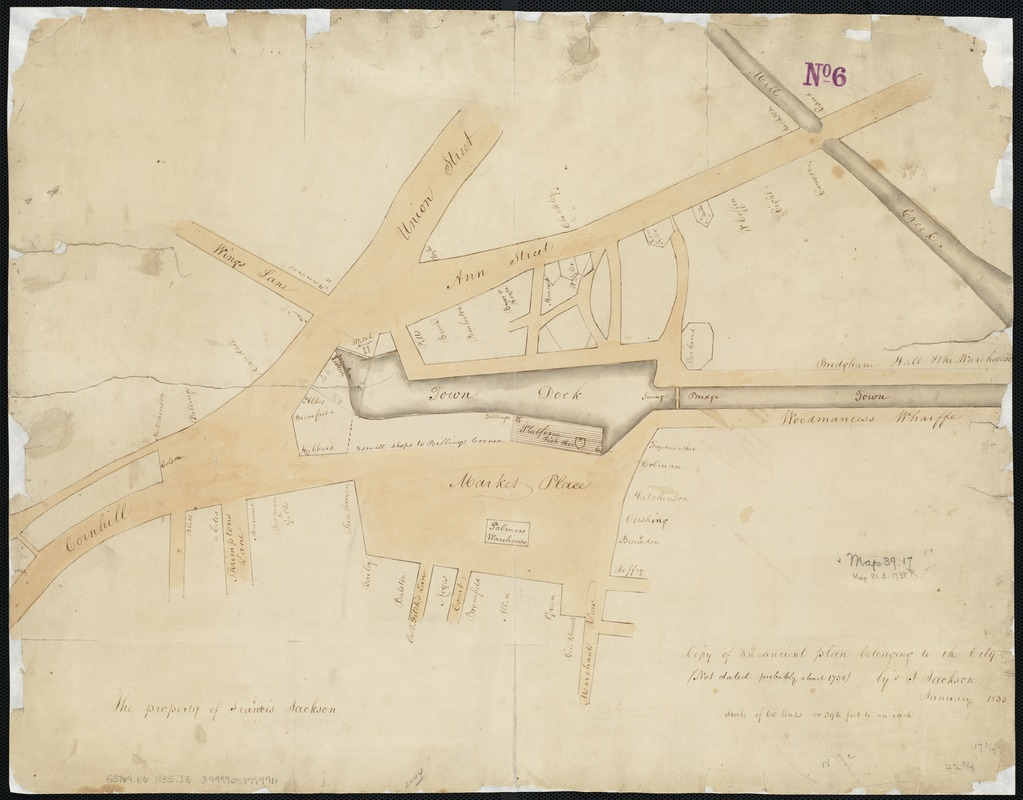 Copy of an ancient plan belonging to the City (not dated probably about 1738)