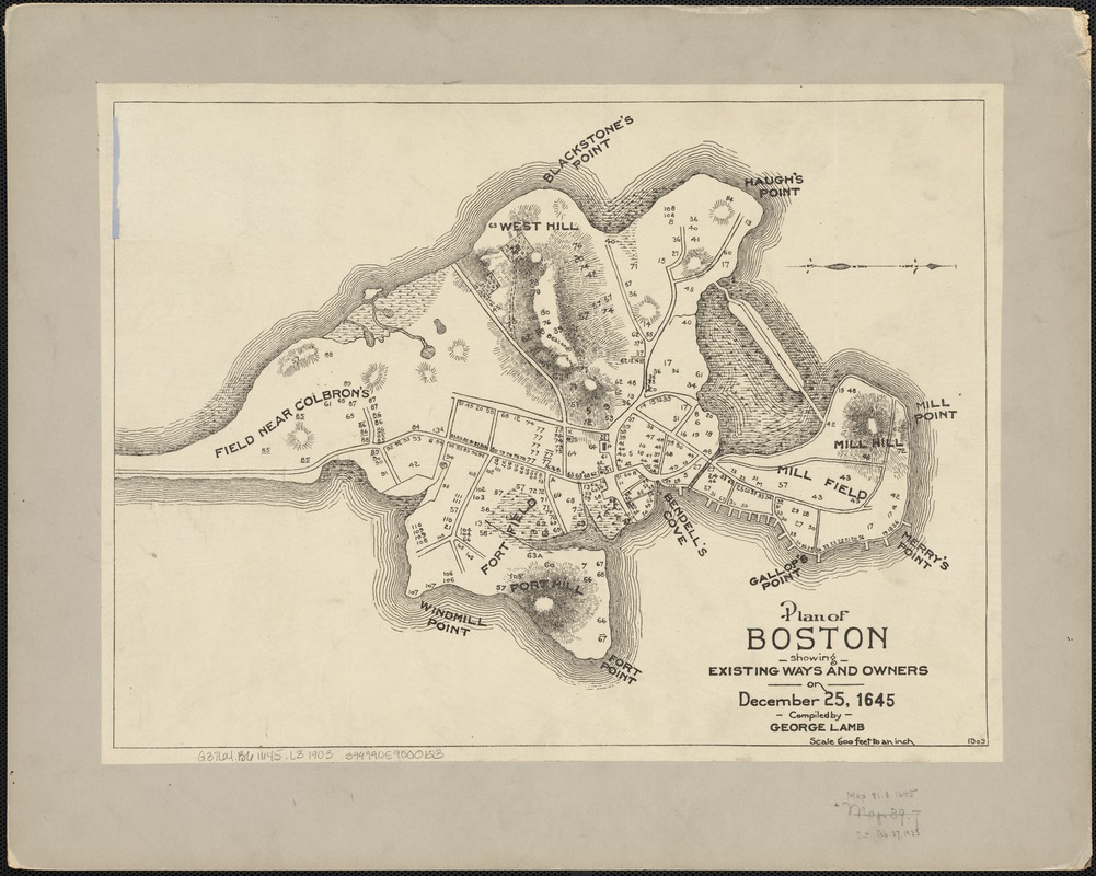 Plan of Boston showing existing ways and owners on December 25, 1645