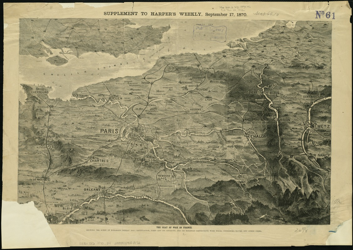 The seat of war in France, showing the scene of M'Mahon's defeat and capitulation, Paris and its environs, and its railroad connections with Tours, Cherbourg, Havre and other cities