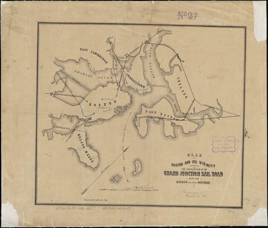 Plan of Boston and its vicinity showing the connection of the Grand Junction Rail Road with the Harbor and other Rail-roads