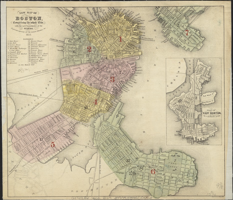 New map of Boston, comprising the whole city, with the new boubdaries of the wards