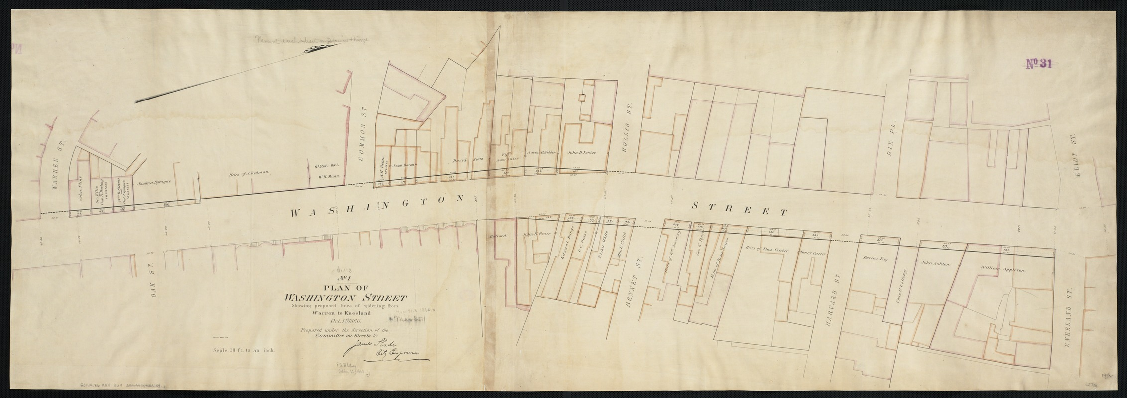 Plan of Washington Street showing proposed lines of widening from Warren to Kneeland