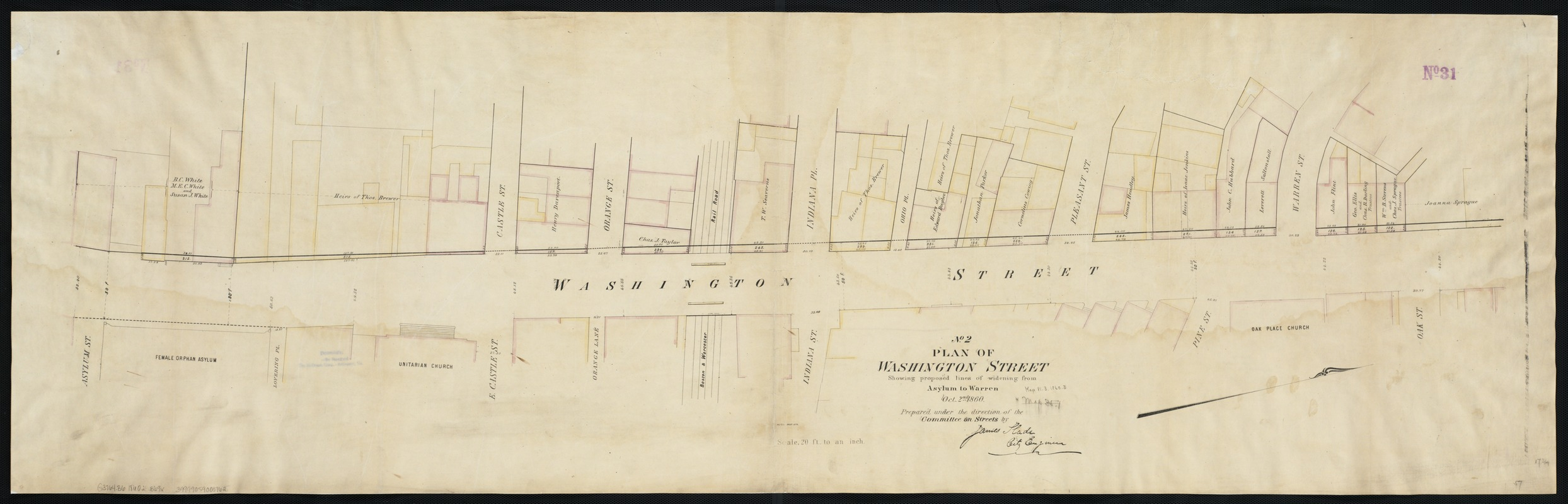 Plan of Washington Street showing proposed lines of widening from Asylum to Warren