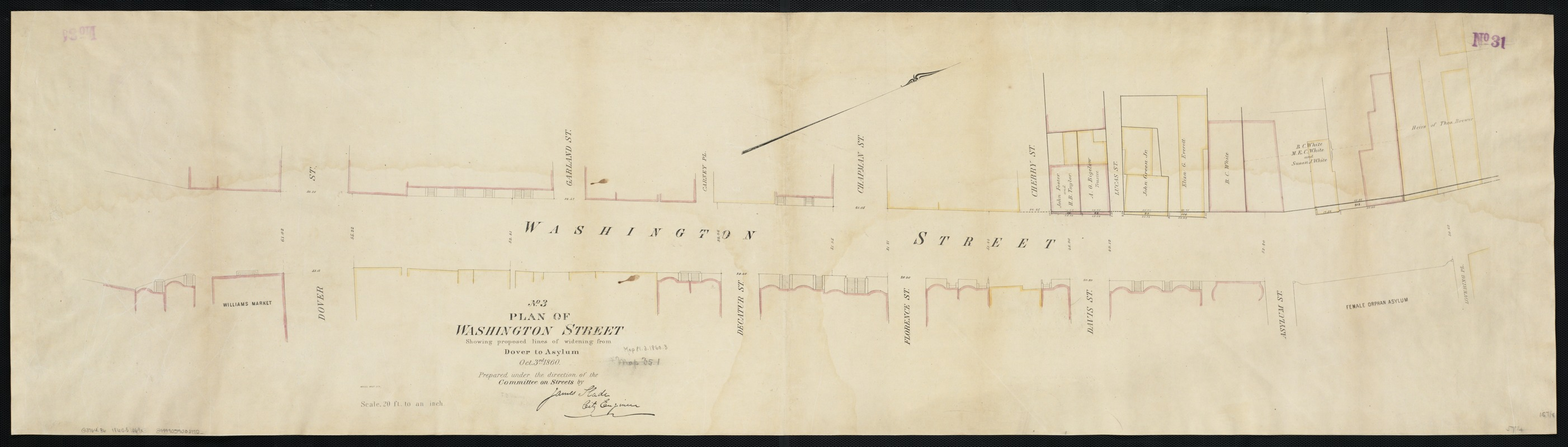 Plan of Washington Street showing proposed lines of widening from Dover to Asylum