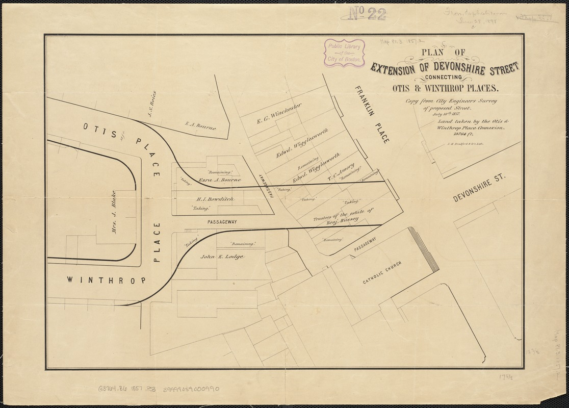 Plan of extension of Devonshire Street connecting Otis & Winthrop Places