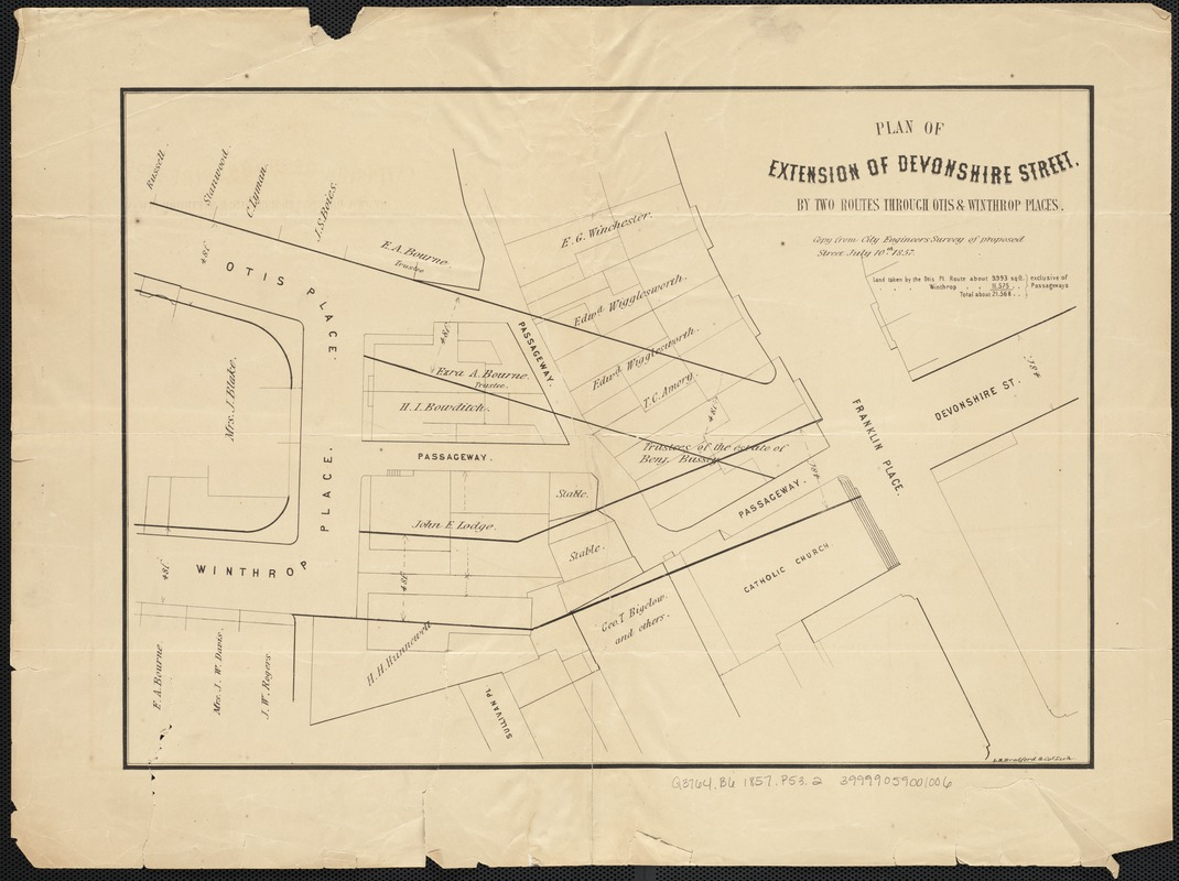 Plan of extension of Devonshire Street, by two routes through Otis and Winthrop Places
