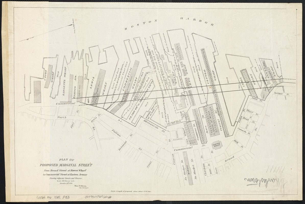 Plan of proposed Marginal Street from Broad Street at Rowe's Wharf to Commercial Street at Eastern Avenue
