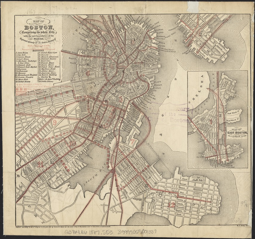 Map of Boston, comprising the whole city, with the new boundaries of the wards