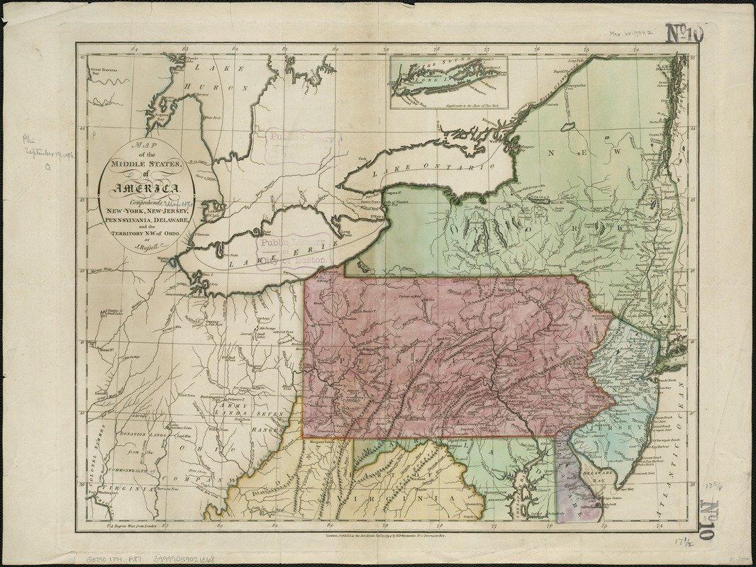 Map Of New York Ohio Area.Map Of The Middle States Of America Norman B Leventhal Map