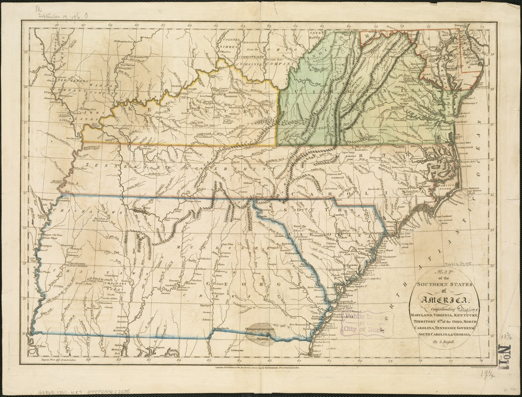Map of the southern states of America comprehending Maryland