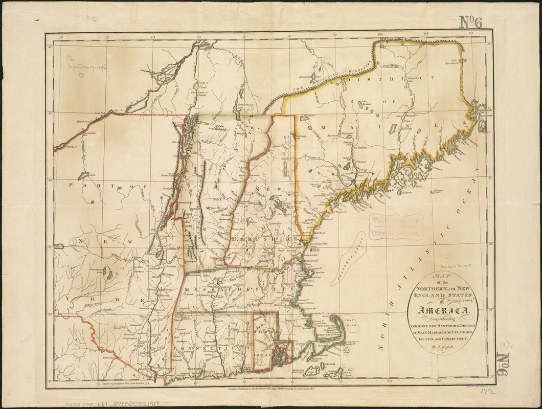 Map Of America Vermont.Map Of The Northern Or New England States Of America