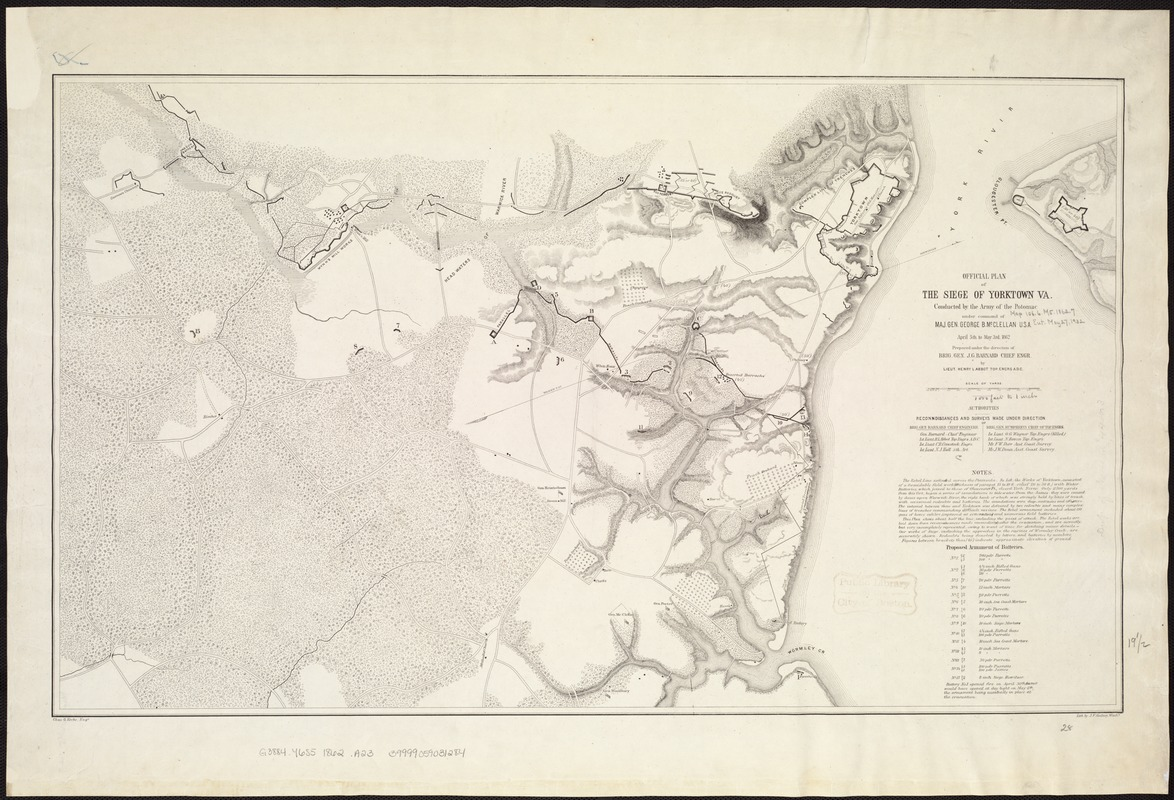 Official plan of the siege of Yorktown, Va. conducted by the Army of the Potomac under command of Maj. Gen. George B. McClellan, U.S.A., April 5th to May 3rd 1862