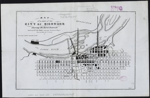 Map of a part of the city of Richmond showing the burnt districts