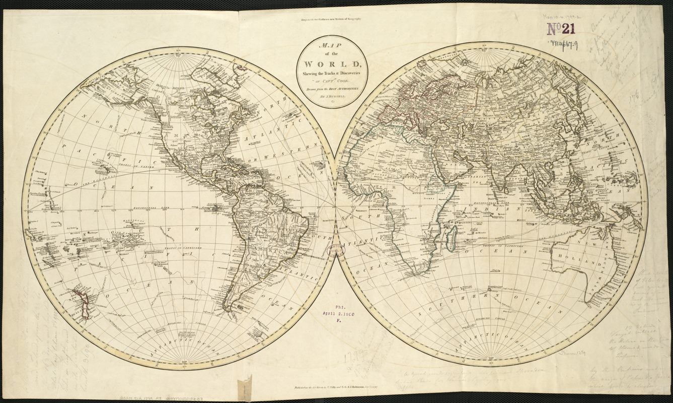 Map of the world, shewing the tracks & discoveries of Captn. Cook