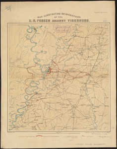 Map illustrating the operations of U.S. Forces against Vicksburg