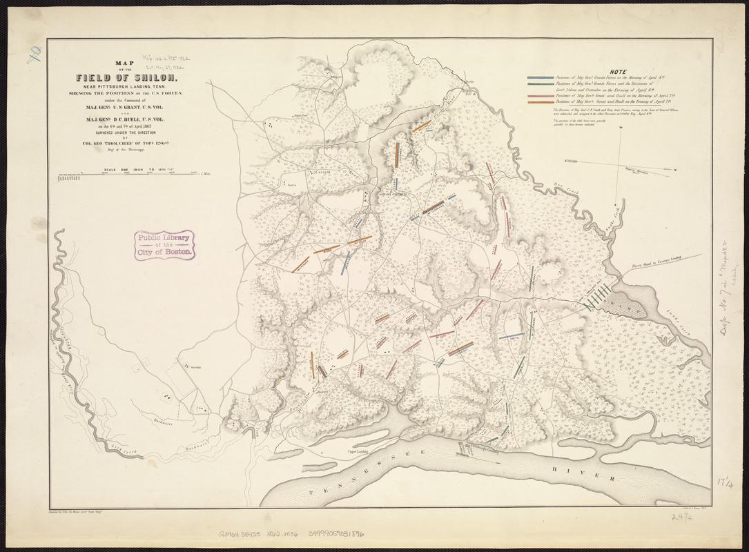 Map of the field of Shiloh, near Pittsburgh Landing, Tenn., shewing the positions of the U.S. forces under the command of Maj. Genl. U. S. Grant, U.S. Vol. and Maj. Genl. D. C. Buell, U.S. Vol. on the 6th and 7th of April 1862