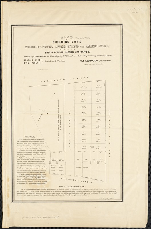 Plan of building lots on Washington, Waltham & Parker Streets and Harrison Avenue, belonging to the Boston Lying-In Hospital Corporation