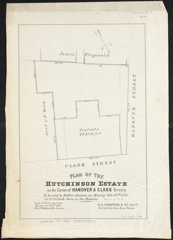 Plan of the Hutchinson Estate on the corner of Hanover & Clark Streets
