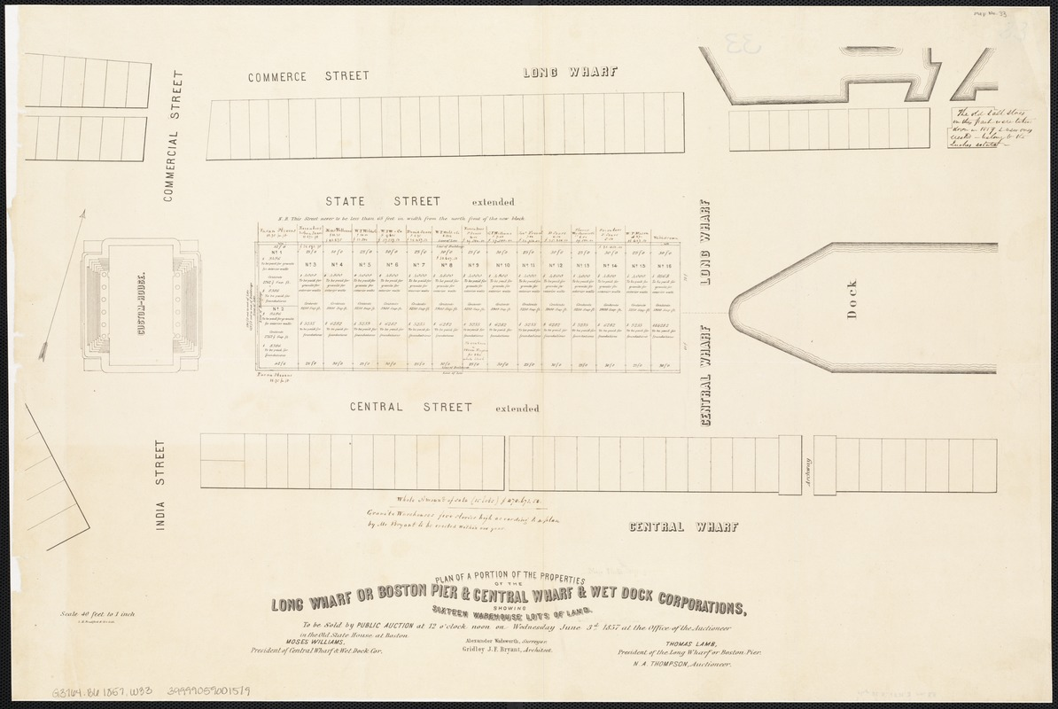 Plan of a portion of the properties of the Long Wharf or Boston Pier & Central Wharf & Wet Dock Corporatins, showing sixteen warehouse lots of land