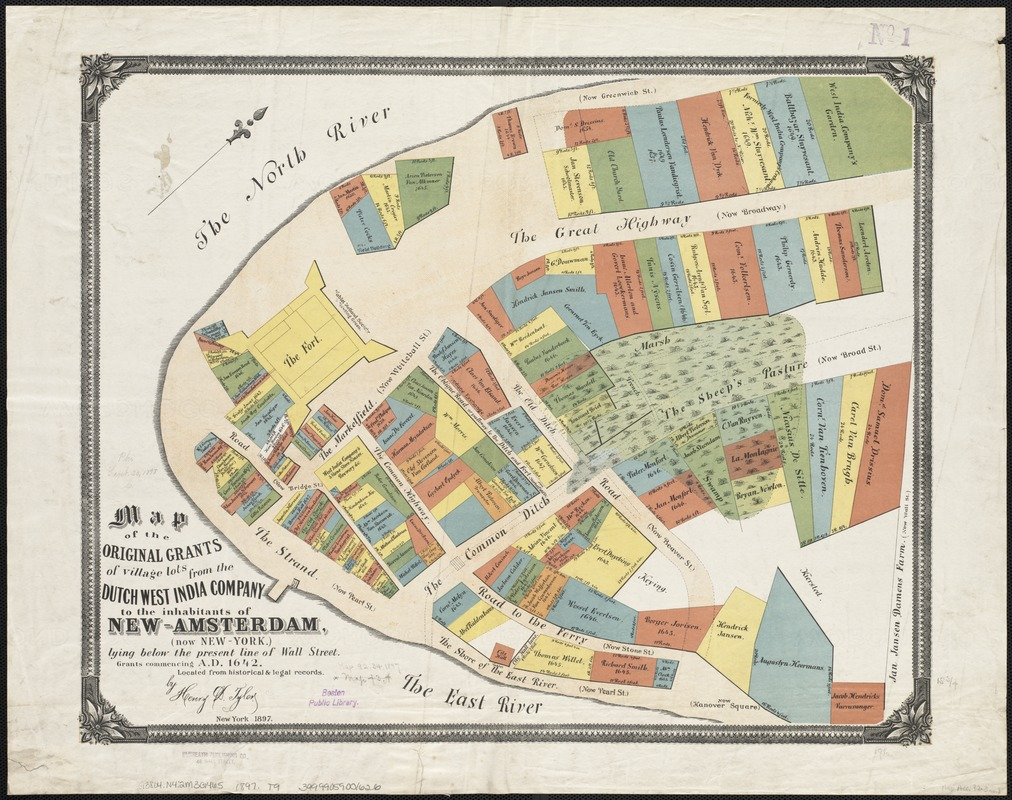 Map of the original grants of village lots from the Dutch ... Map Grants on