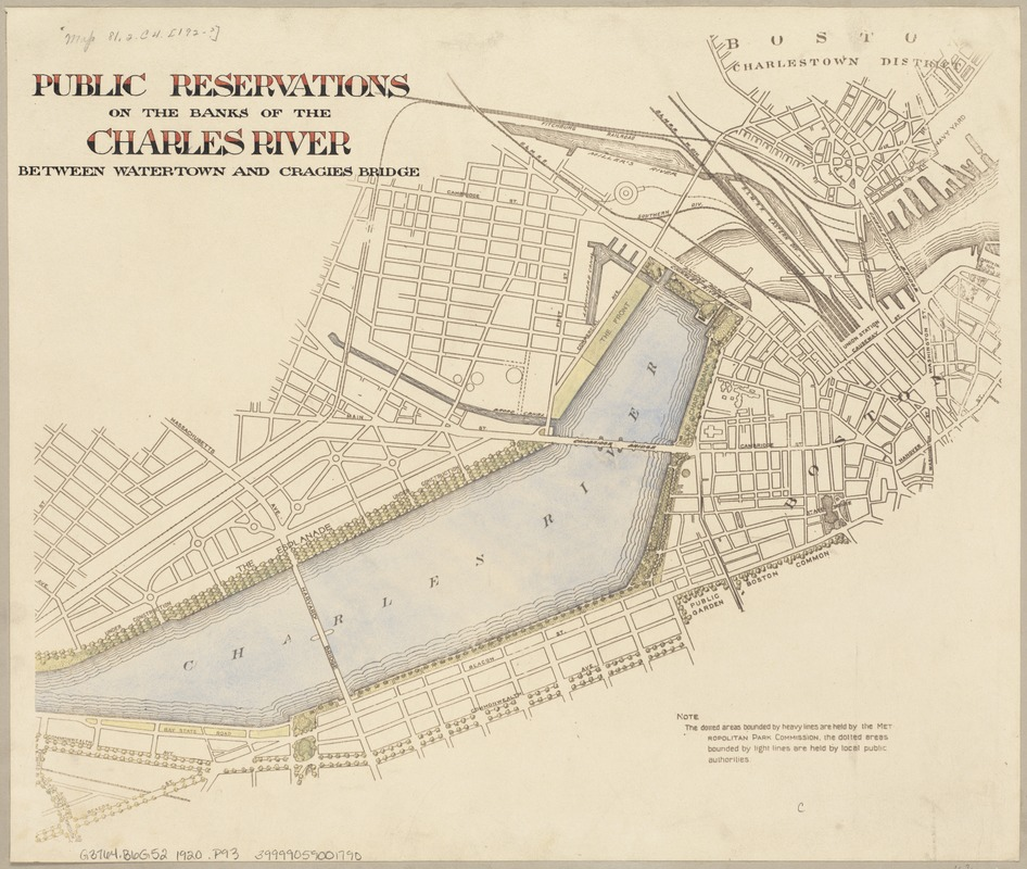 Public reservations on the banks of the Charles River between Watertown and Cragies Bridge