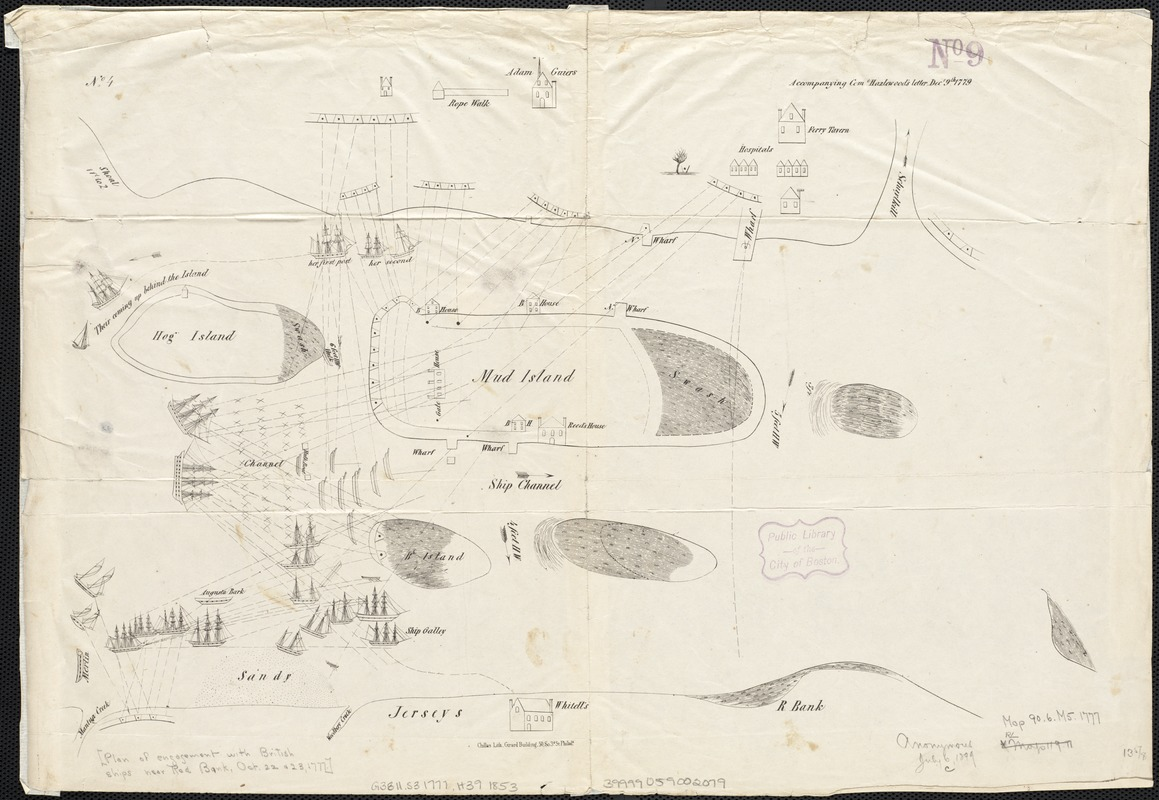 [Plan of engagement with British ships near Red Bank, New Jersey, October 22 and 23, 1777]
