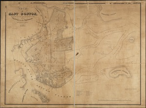 Plan of East Boston showing the land and water lots sold and unsold, also all buildings and other improvements