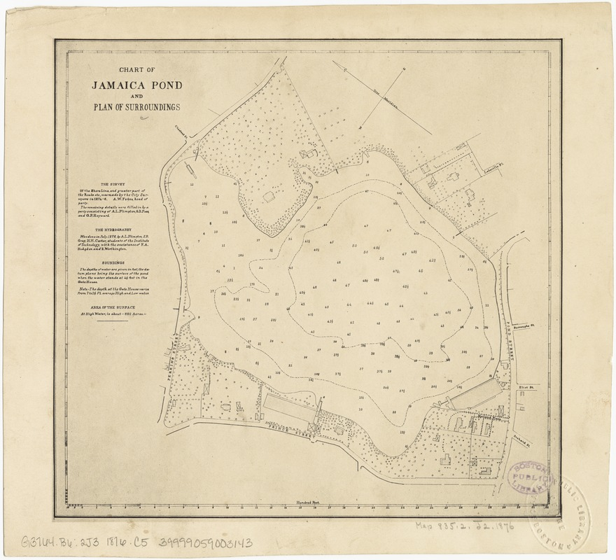Chart of Jamaica Pond and plan of surroundings