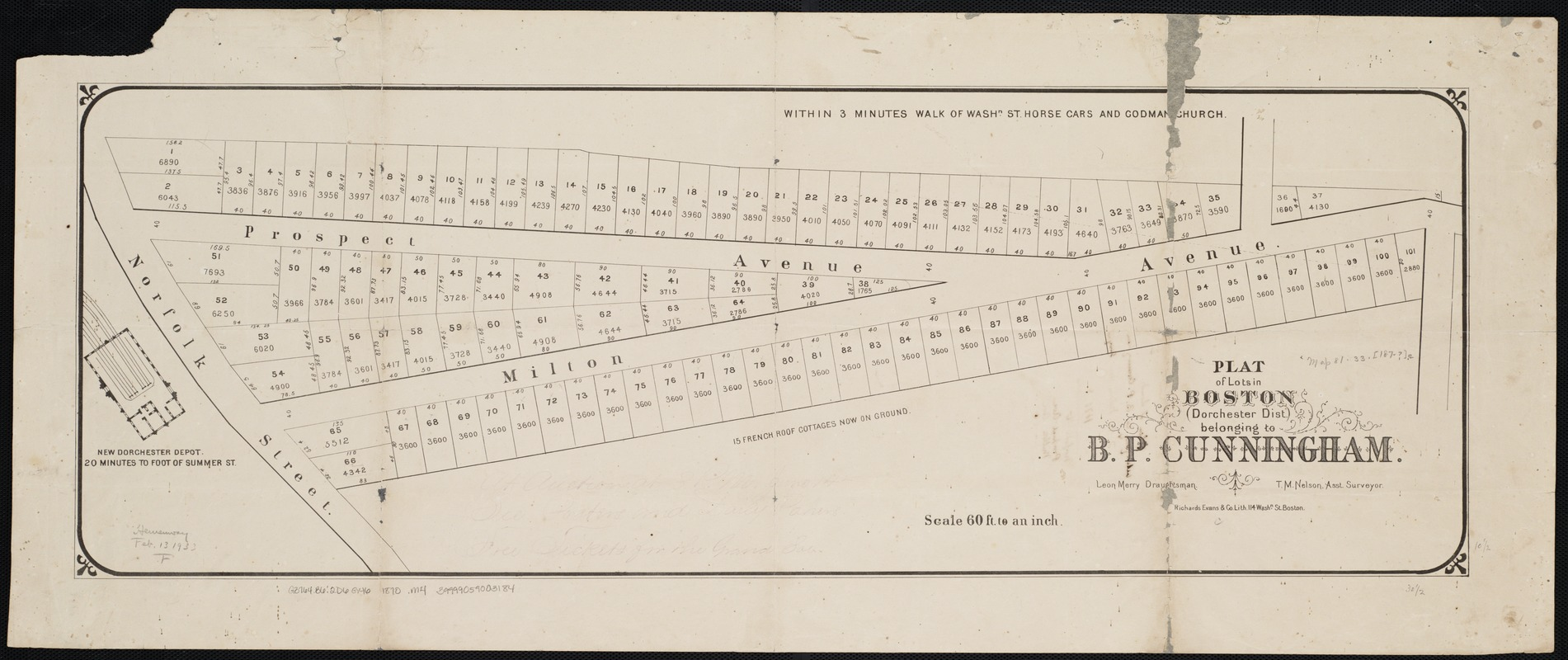 Plat of lots in Boston (Dorchester Dist.) belonging to B.P. Cunningham