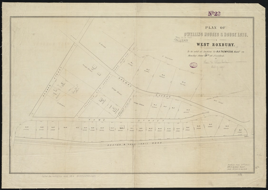 Plan of dwelling houses & house lots, in West Roxbury