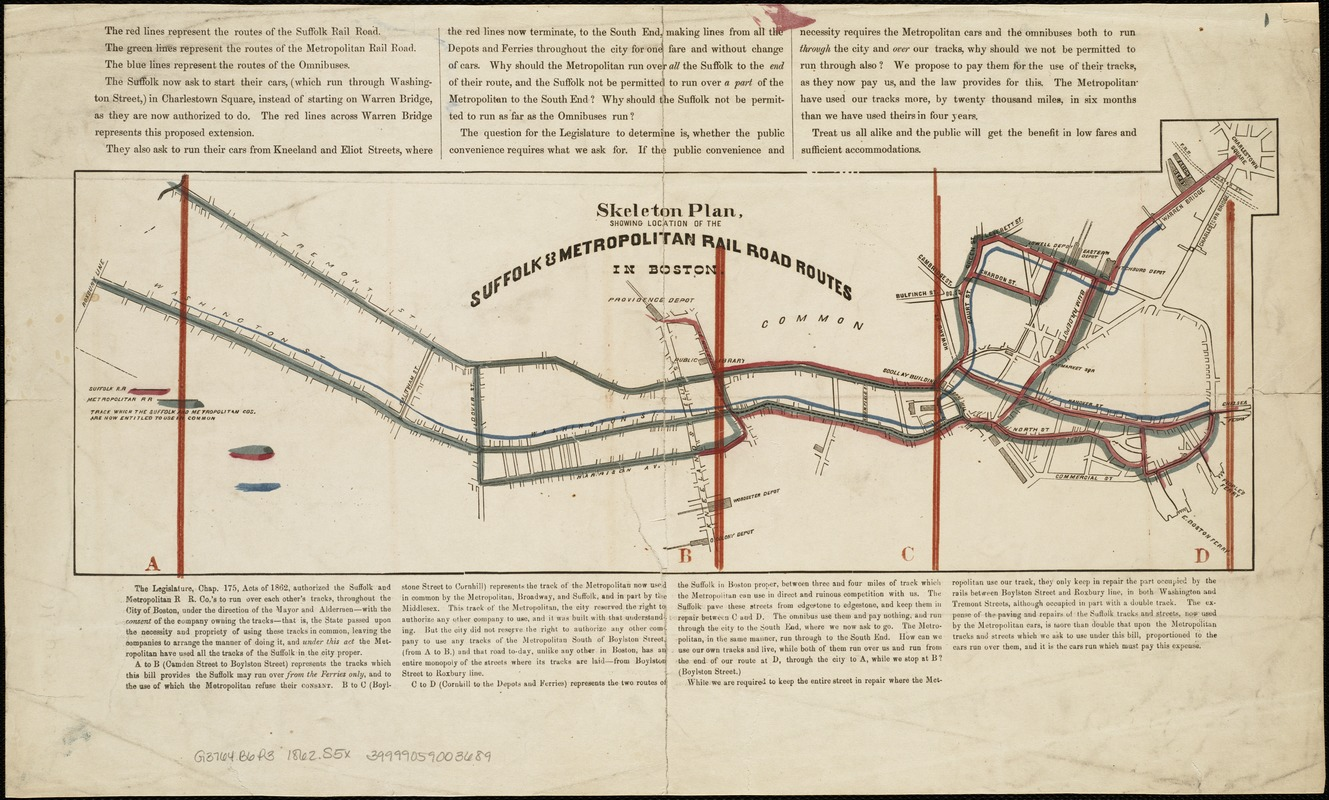 Skeleton plan, showing location of the Suffolk & Metropolitan rail road routes in Boston