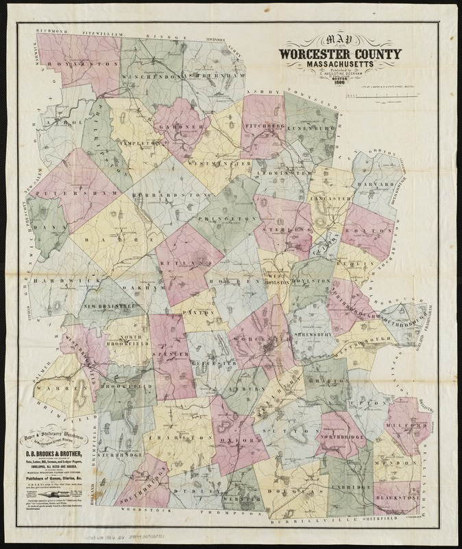 Map of Worcester County, Massachusetts