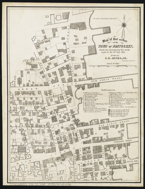Map of that section of the town of Nantucket, which was destroyed by the fire on the night of the 13th July, 1846