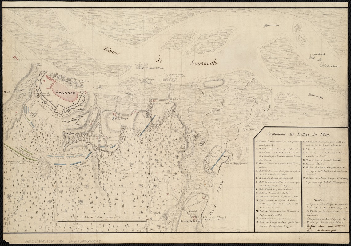 [Map of the operations at the seige of Savannah in 1779, by the French and American forces]