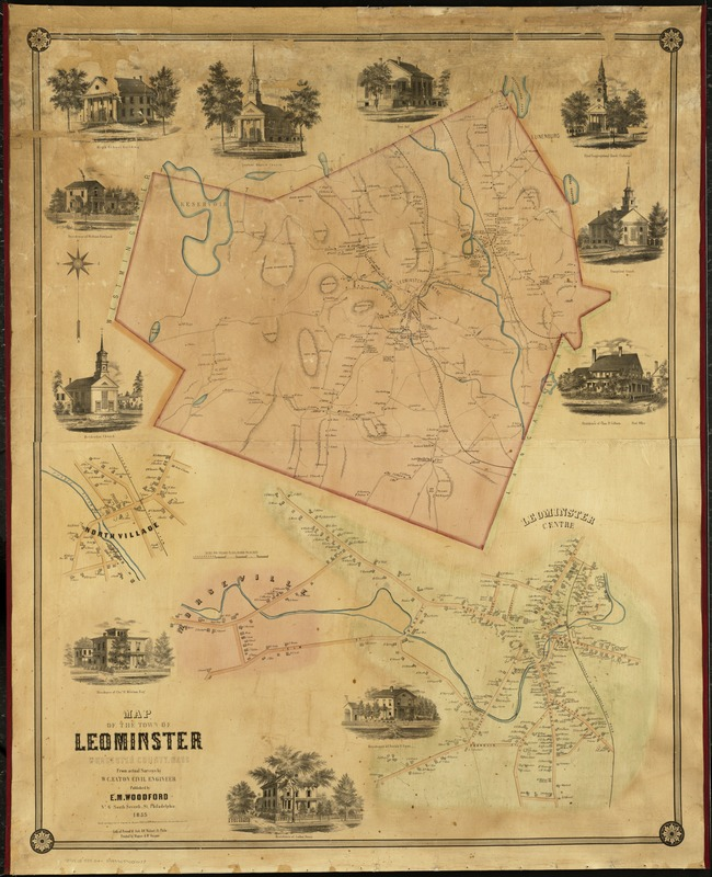 Map of the town of Leominster
