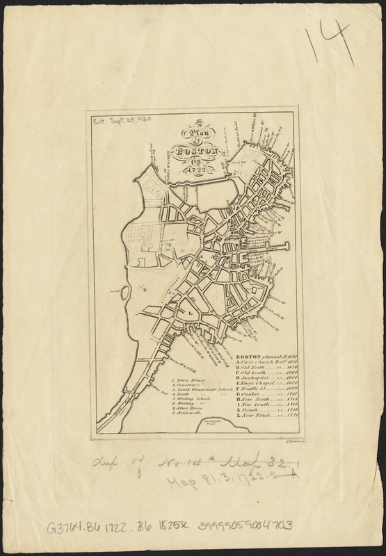 A plan of Boston in 1722