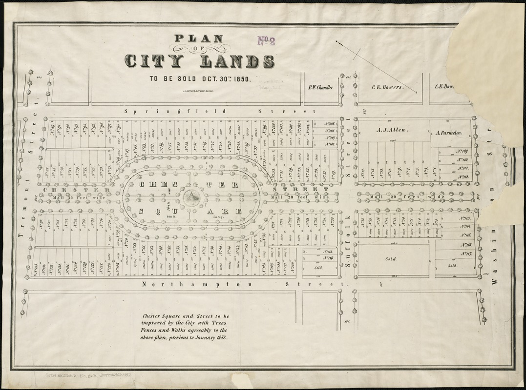 Plan of city lands to be sold Oct. 30th 1850