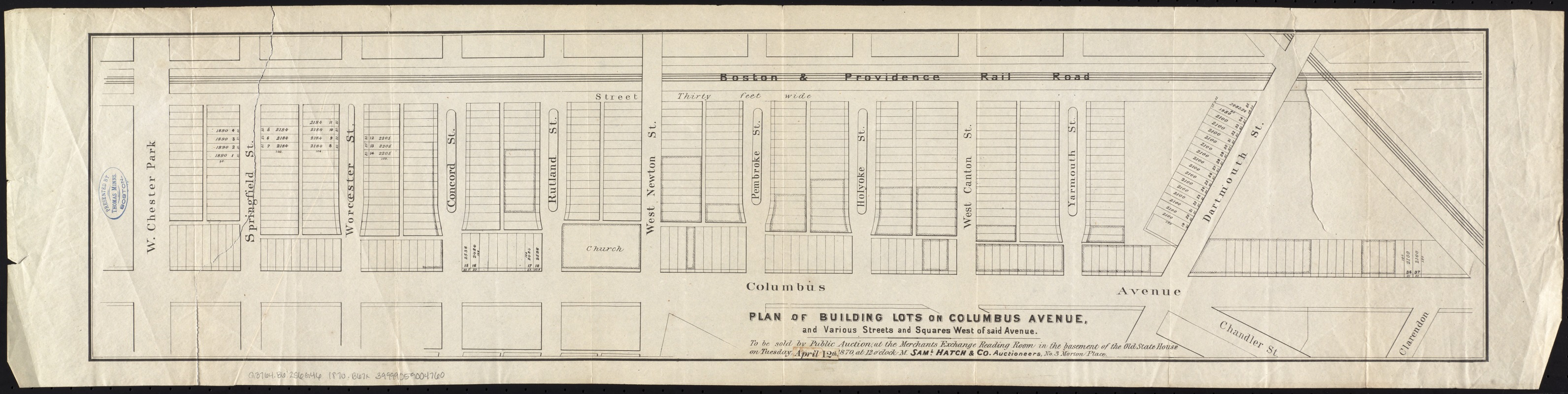 Plan of building lots on Columbus Avenue, and various streets and squares west of said avenue