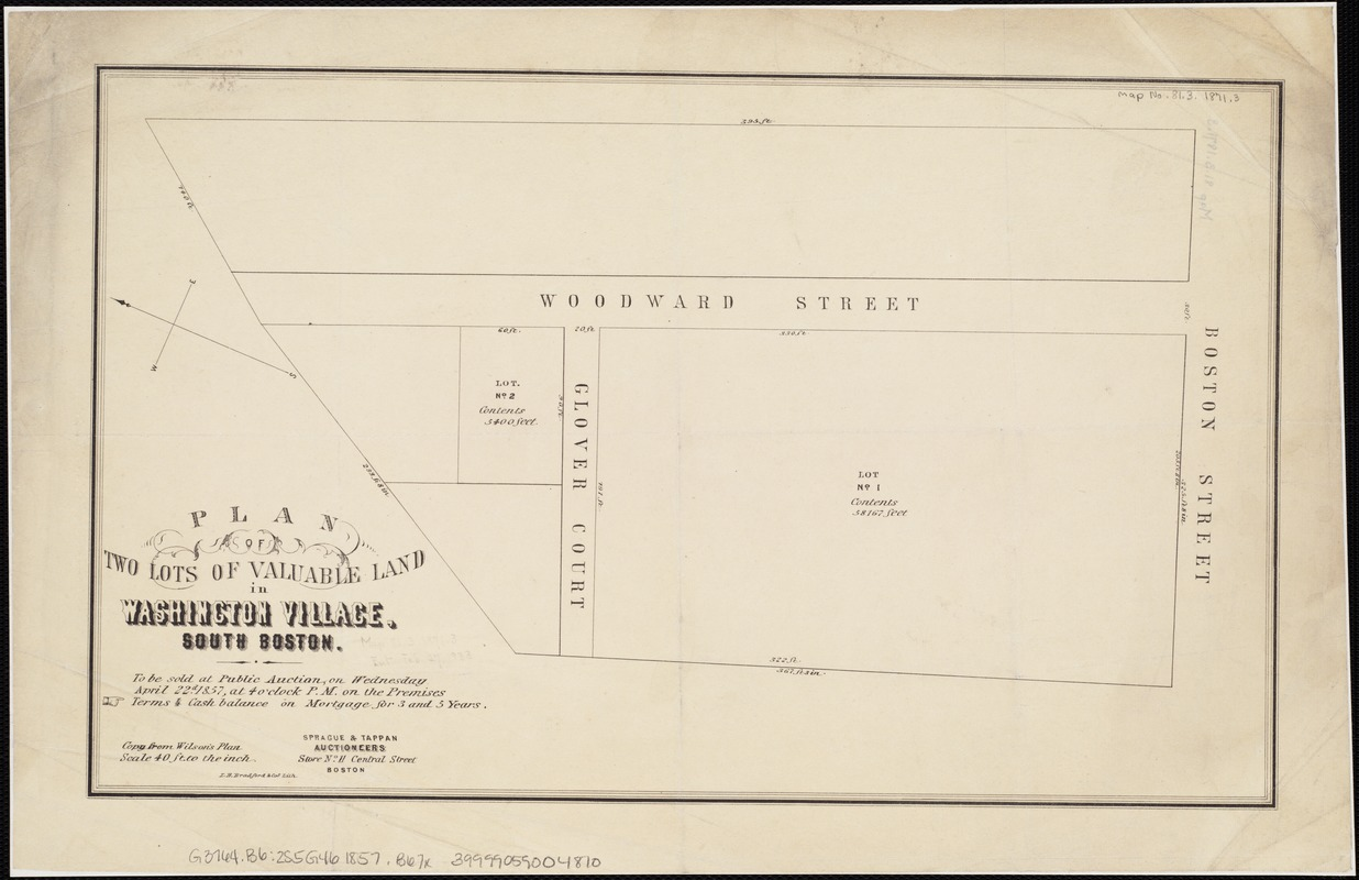 Plan of two lots of valuable land in Washington Village, South Boston
